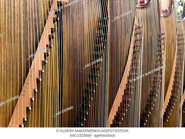 Closeup of Guzheng, Chinese zither at a music instrument store in Shanghai, China