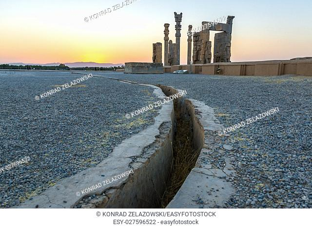 drainage channel and Gate of All Nations in Persepolis ancient city in Iran