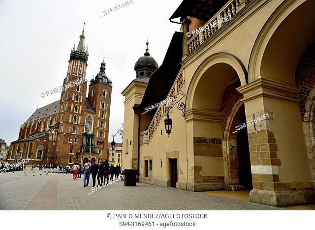 Market square or Rynek. Our Lady of Santa Maria and market, Krakow, Poland