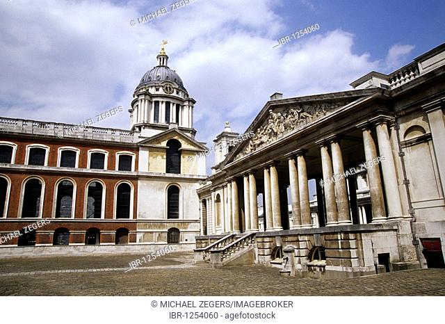 Old Royal Naval College, the former royal military school for the Navy, University of Greenwich in the east of the city, London, England, UK, Europe