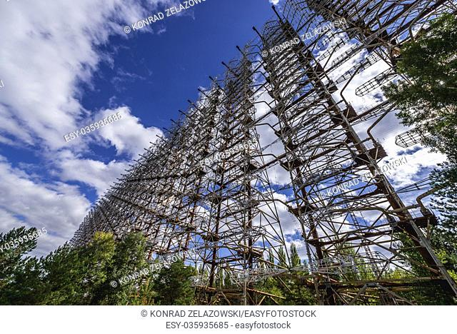 Ground view of old Soviet radar system called Duga near Cherobyl town in Chernobyl Nuclear Power Plant Zone of Alienation in Ukraine