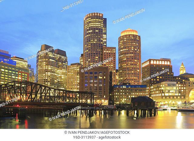 Boston at Dusk, Massachusetts, USA
