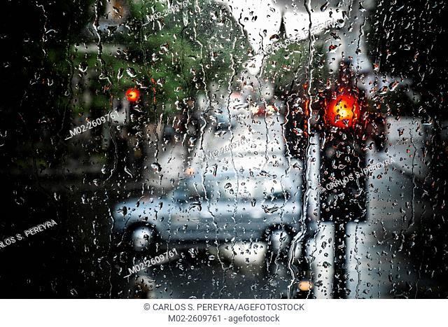 Traffic and rain in London, England, United Kingdom