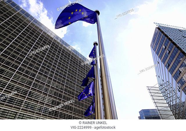 BELGIUM, BRUSSELS, 05.07.2010, BEL , BELGIUM : Flags of the EU in front of Berlaymont building of the EU-Commission in Brussels - Brussels, Brussels, Belgium