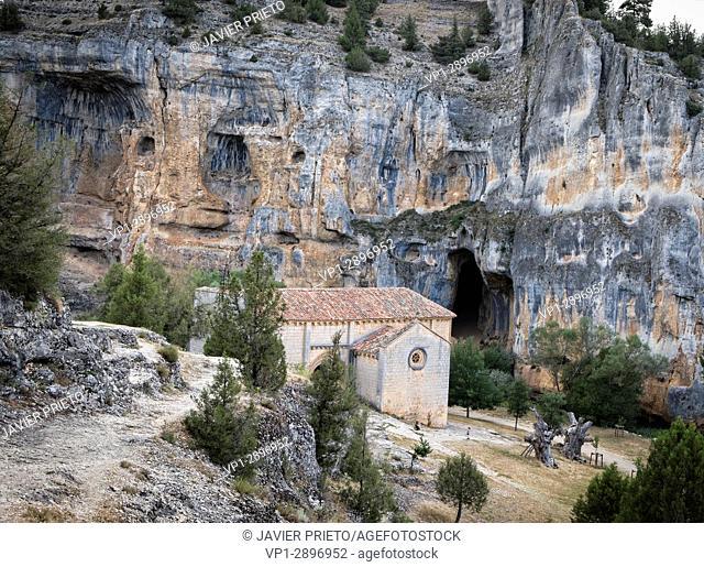 The hermitage of San Bartolomé in the bottom of the Canyon of the Lobos River. Canos de Río Lobos Natural Park. Soria. Castilla y León