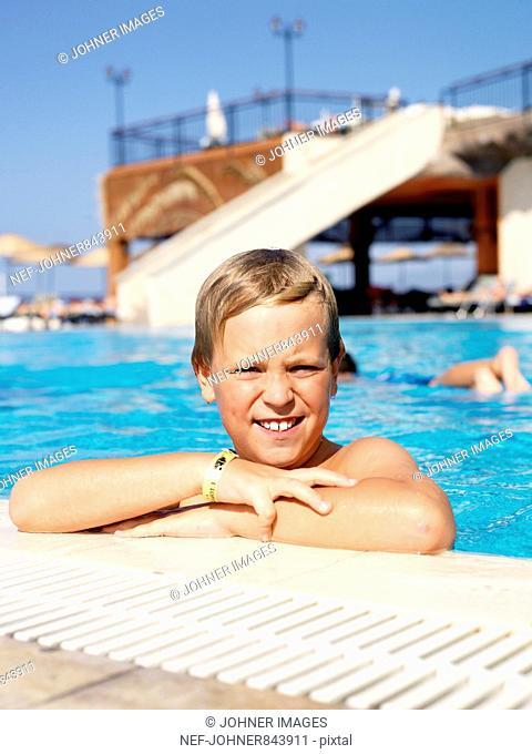 Portrait of a boy in a swimming-pool, Turkey