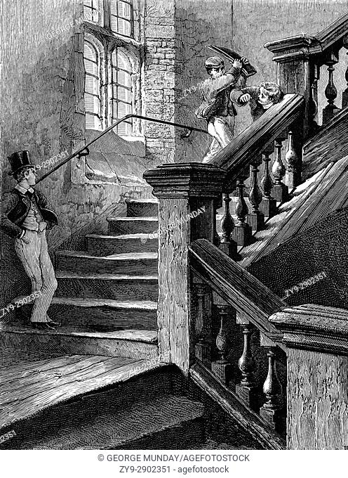 1870: Badly behaved boys on the staircase in the Upper School at Eton College, an English independent boarding school for boys, Eton, Berkshire, near Windsor