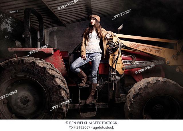 Fashion shoot in a farm. Tarifa, Cadiz, Andalusia, Spain