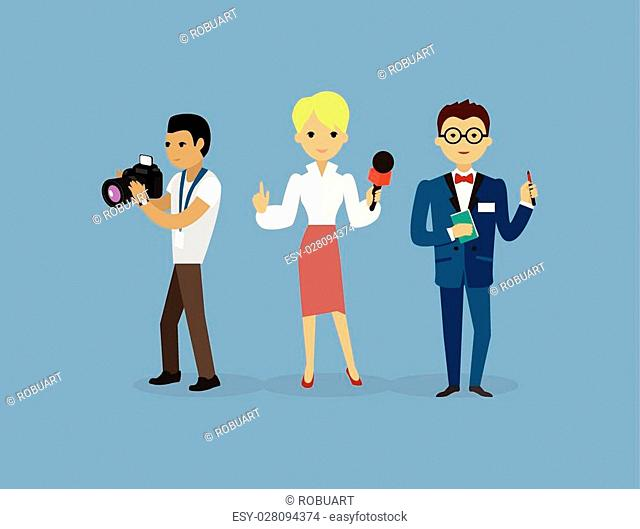 Journalists team people group flat style. Report and press, writer and interview, media news, news reporter, professional and camera, character reporter