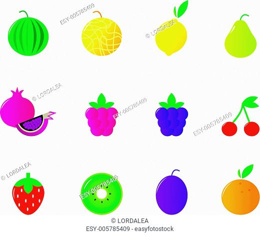 Fresh vegetable icons collection isolated on white