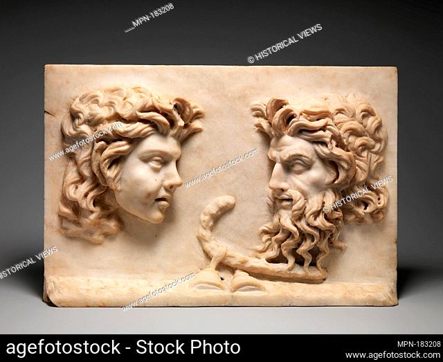 Marble two-sided relief. Period: Imperial; Date: 1st century A.D; Culture: Roman; Medium: Marble; Dimensions: 9 7/8 x 14 3/4 x 2 1/4 in. (25.1 x 37