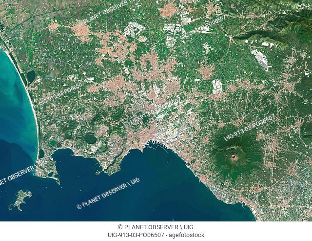 Colour satellite image of Naples, Italy. The volcano, Mount Vesuvius, is located about 9 kilometers East of Naples. Image taken on October 17