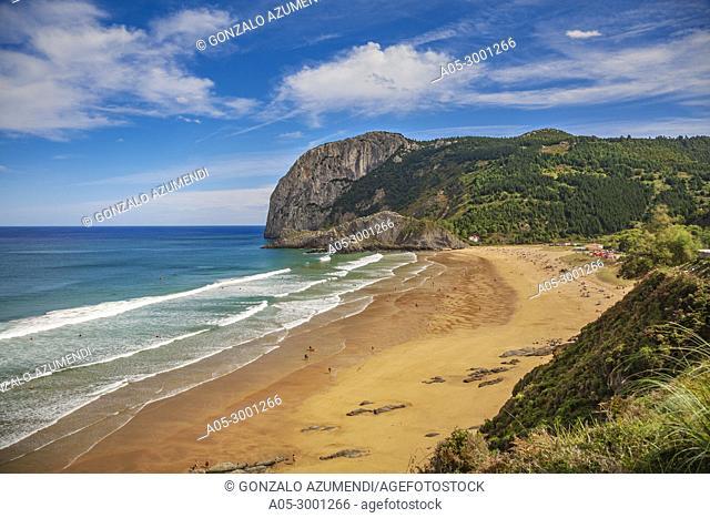 Laga Beach. In the background Ogoño cape. Urdaibai biosphere Reserve. Urdaibai. Region. Bizkaia. Basque Country. Spain