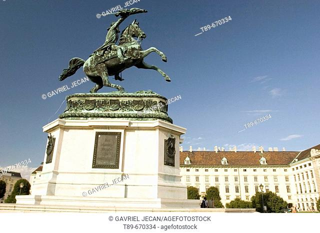 Sculpture of a horse rider in the Hofburg Square, Vienna, Austria