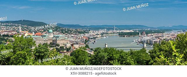 Panoramic view of Budapest from the Gellert hill. Budapest Hungary
