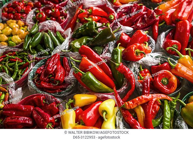 Canada, Quebec, Montreal, Little Italy, Marche Jean Talon market, autumn, peppers