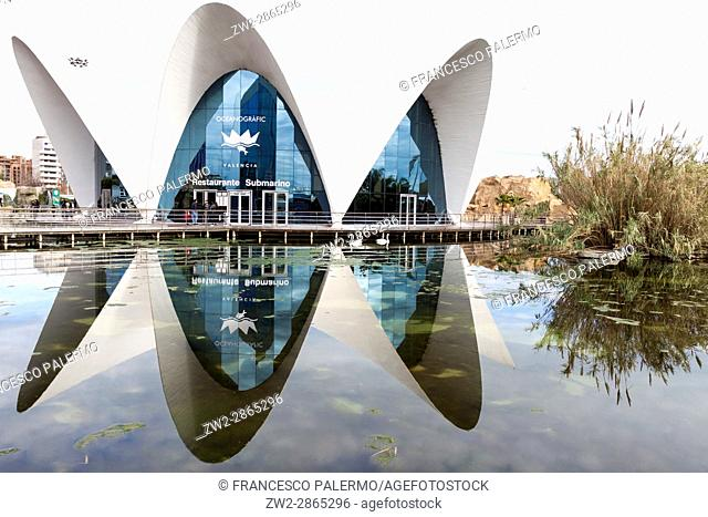 The underwater restaurant reflected in the water. Valencia, Spain