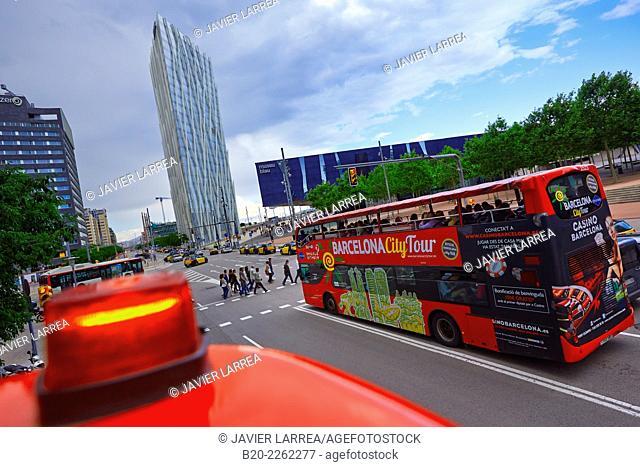 Tourist Bus. Diagonal Zero Zero Tower designed by the architect Enric Massip, Telefonica Headquarters. Museu Blau, Forum building