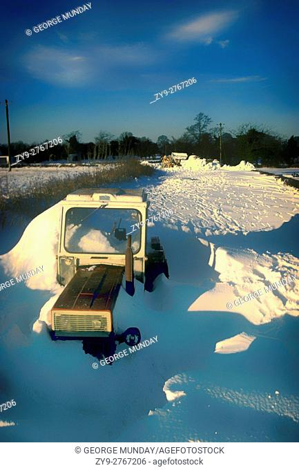 Blocked lanes from the blizzard of 1982, in which a strong easterly wind left the fields mostly clear, and dropped snow up to a height of 2 metres on North -...