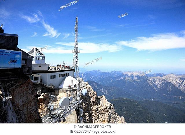 Meteorological station and transmission tower on Mt Zugspitze, Bavaria, Germany, Europe