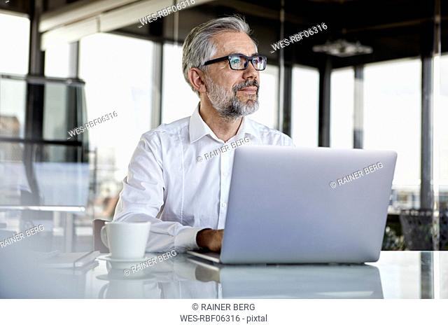 Businessman with laptop at desk in office thinking