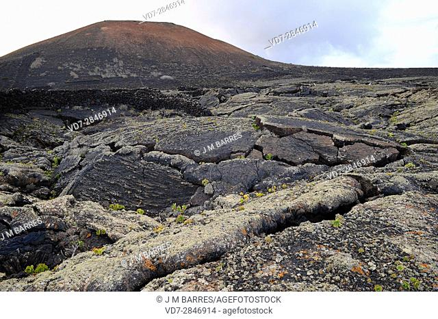 Lava flow with pahoehoe in Masdache-Tias, Lanzarote Island, Las Palmas, Canary Islands, Spain