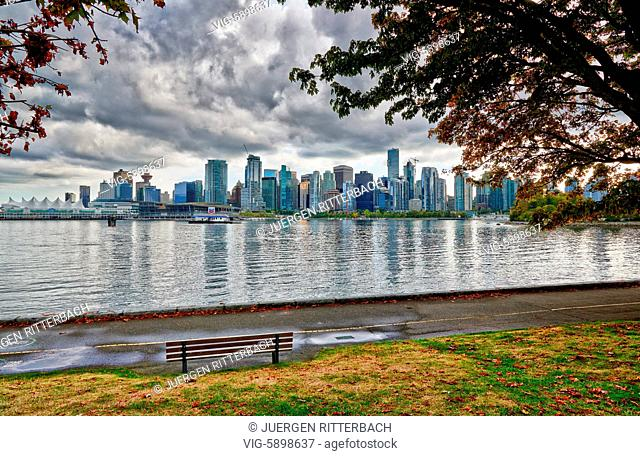 Skyline of Vancouver seen from Stanley Park, British Columbia, Canada - Vancouver, British Columbia, Canada, 26/09/2014