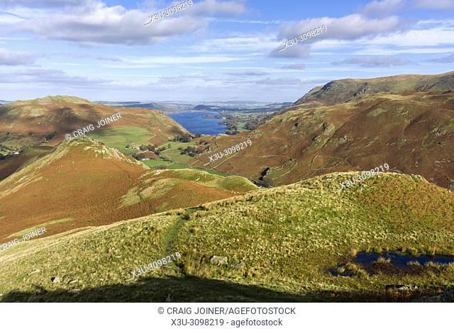 View over the Martindale valley with Ullswater beyond from the northern end of Beda Fell in the Lake District National Park, Cumbria, England