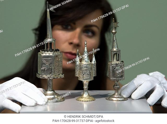 Art historian Sophie Mannich with incense burners in the Moritzburg Art Museum in Halle, Germany, 28 June 2017. Seventeen objects housed in the Art Museum of...