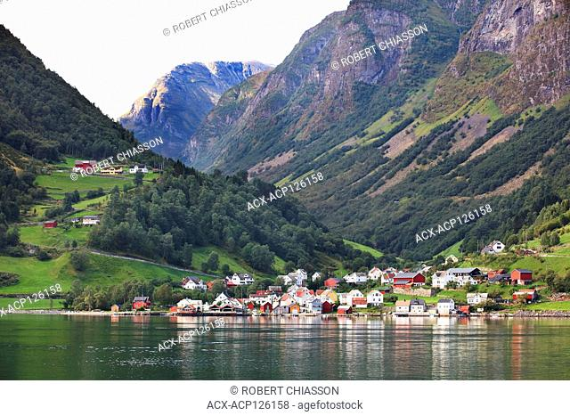 Village of Undredal on the banks of the Naeroyfjord, Norway
