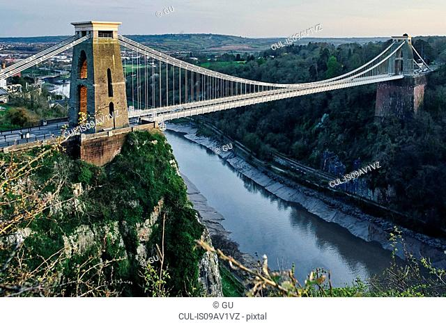 Landscape of Clifton suspension bridge over river Avon, Bristol, UK