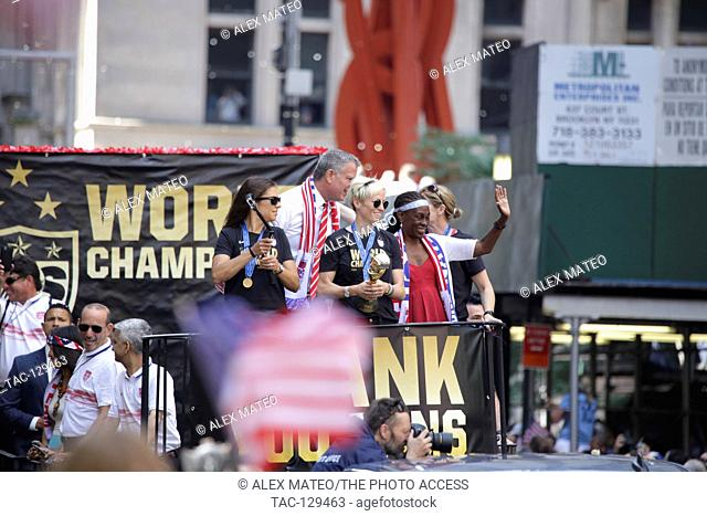 Members of the United States Women's Nation Team are honored with a ticker tape parade to commemorate their gold medal in the Women's World Cup