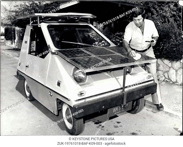Oct. 18, 1976 - The 'Ugly Duckling' Makes its Debut - The World's First Civilian Car Partially Powered by Solar Energy: A two-seater car known as they 'Ugly...