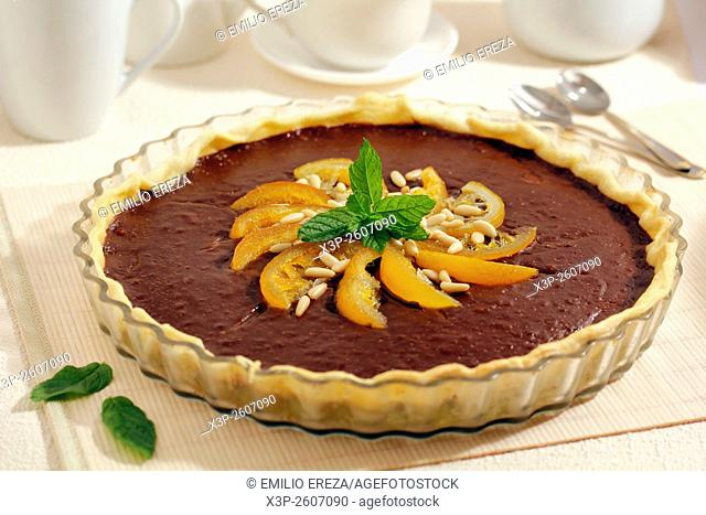 Chocolate tart with oranges