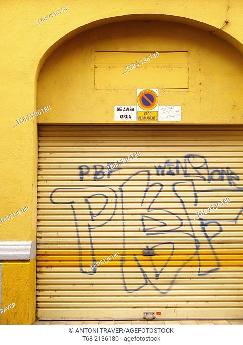 Graffiti street in the shade of a trade, Lleida, Spain