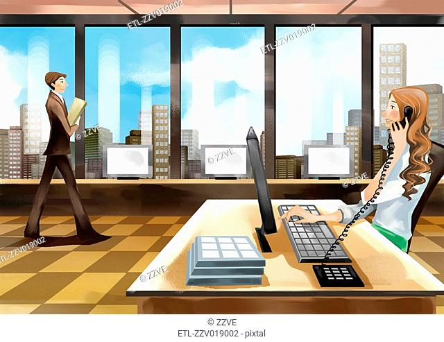 Receptionist at desk, Businessman walking with file