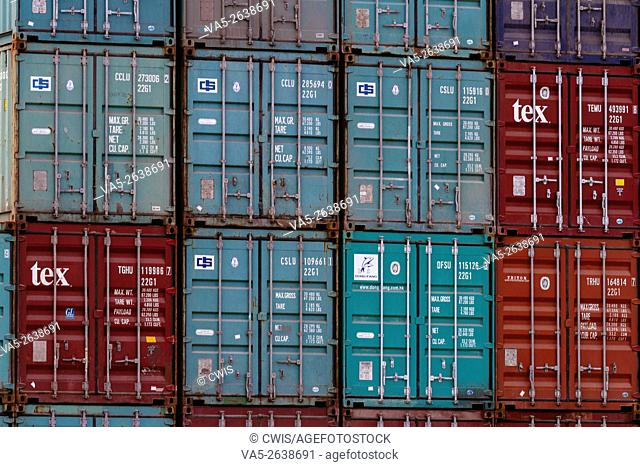 Haikou, Hainan province, China - The view of many containers at Xiuying Container Wharf