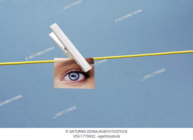 Eye Hanging on Clothes Line