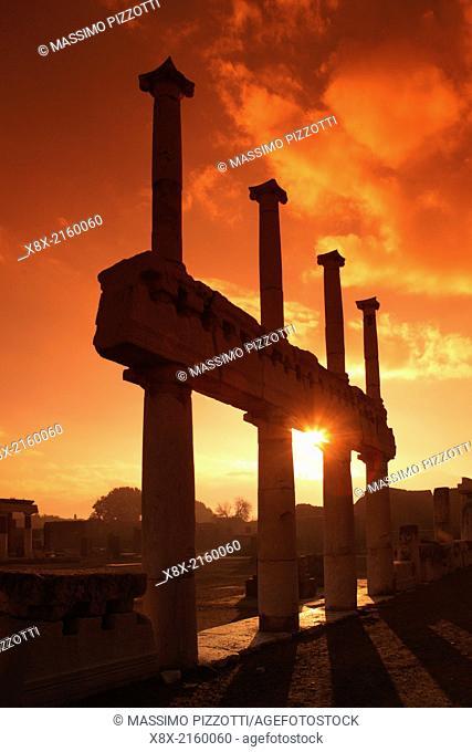 Columns at The Forum in Pompeii,Naples, Italy