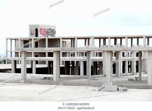 29.01.2015, Spain, Canary Islands, Lanzarote, Big hotel building ruins in Costa Teguise Lanzarote Spain . - Costa, Spain, 29/01/2015
