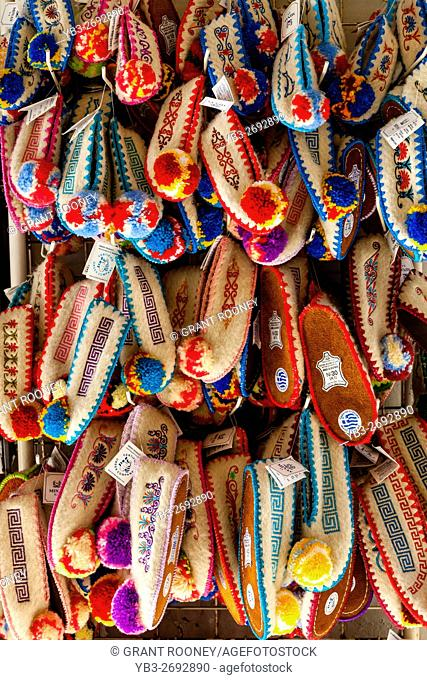 Traditional Woollen Slippers For Sale, Corfu Old Town, Corfu, Greece