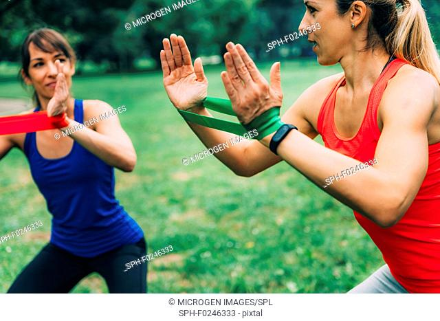 Women exercising with elastic band in the park