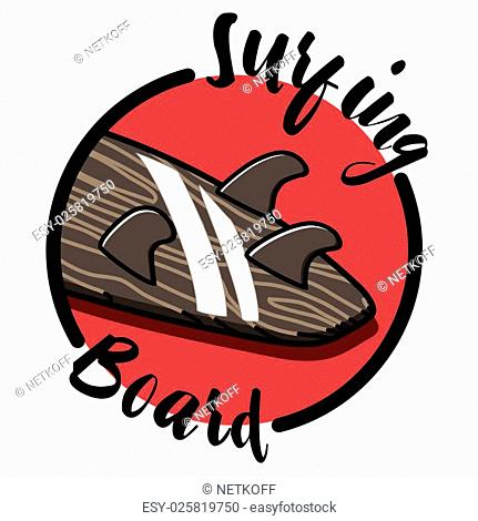296717c9b1e Color vintage surfing emblem. Surfing Design. Tropical vector set Hand  drawing silhouette