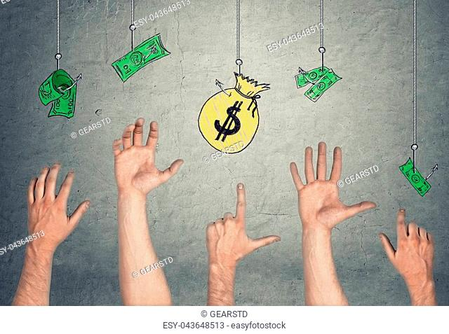 5 Hands in the air tryong to reach the banknotes and a money-bag, hanging on the hooks. Easy money. Temptation and greed. Fraud and corruption
