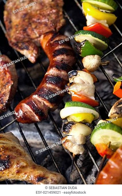 Closeup of meat on grill