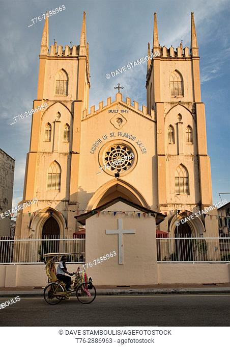 St. Francis Xavier church at sunset, Malacca, Malaysia