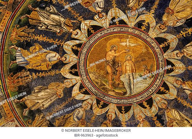 Baptism mosaic on the Cathedral baptistery ceiling, Ravenna, Italy, Europe