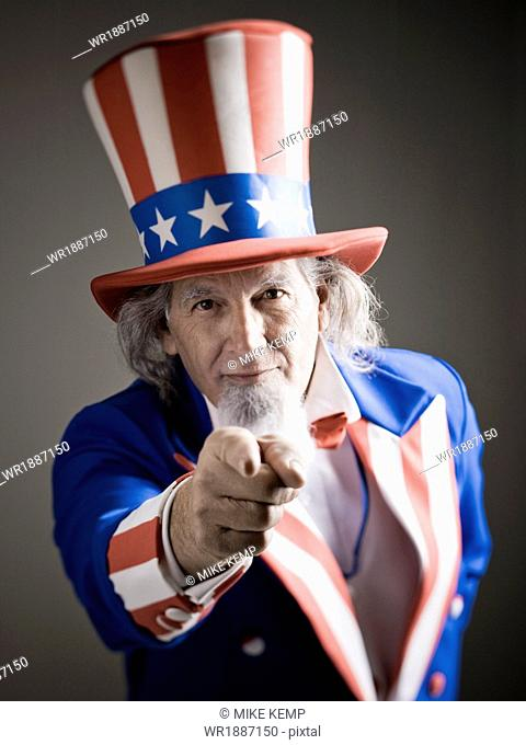 Studio portrait of Uncle Sam pointing