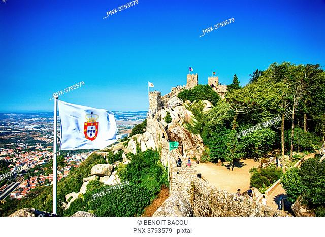 View of part of the wall of the Moorish Castle, Sintra, Lisbon area, Portugal