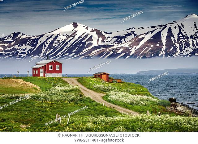 Farmhouse and mountains, Latrastrond beach, Eyjafjordur, Iceland